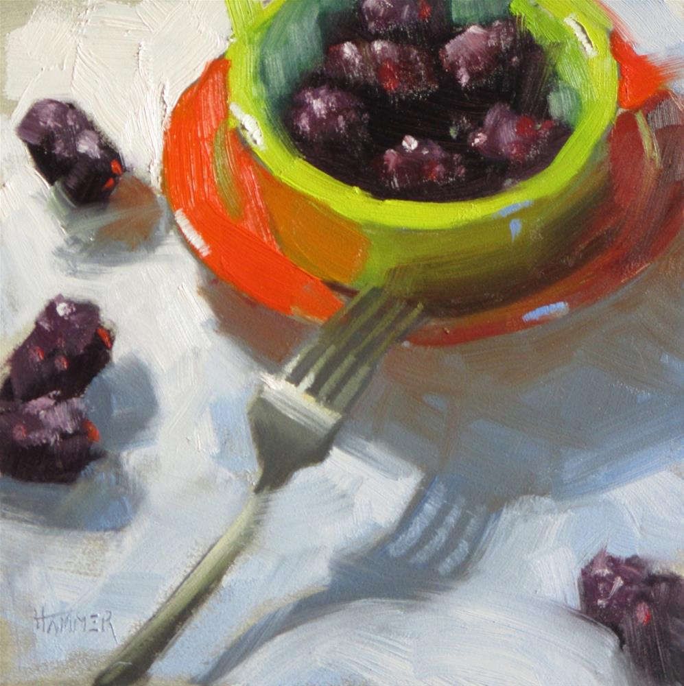 """Ready to eat  6in x 6in   oil"" original fine art by Claudia Hammer"