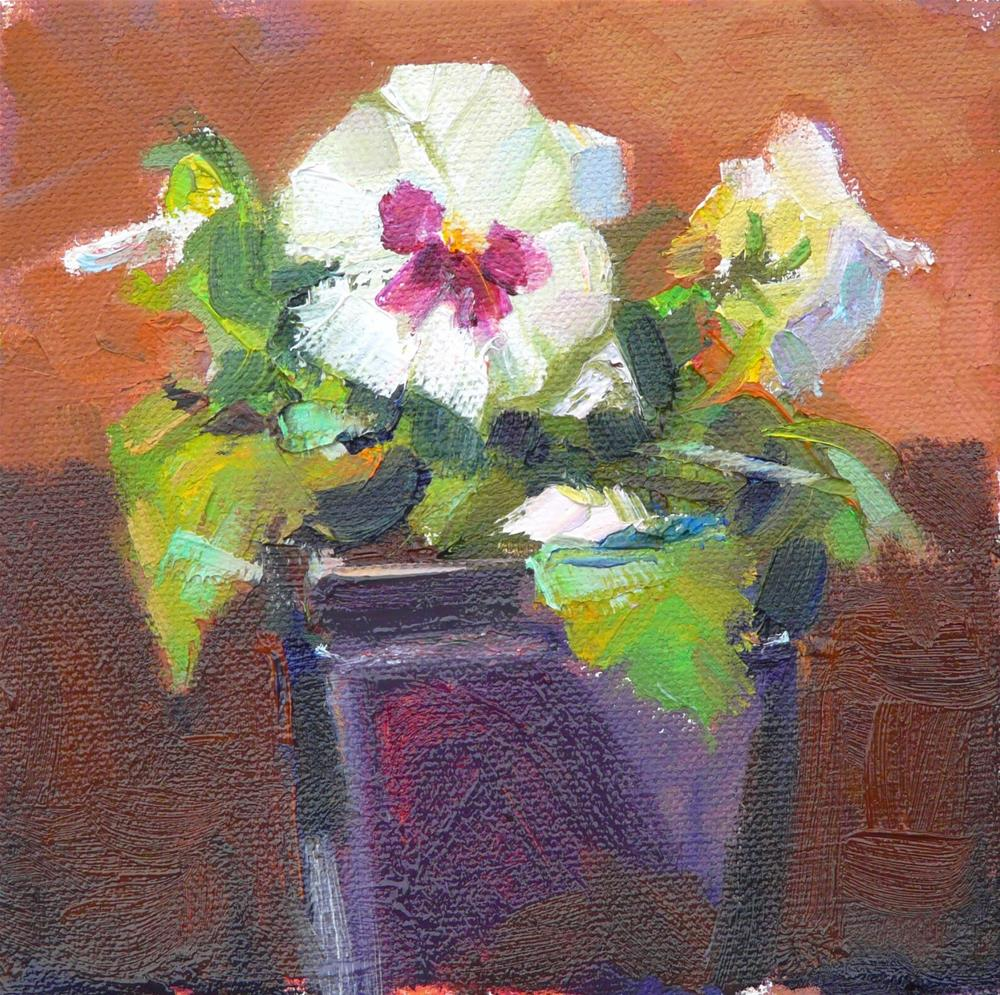 """Pansy without Peachstill life, oil on canvas,6x6,price$200"" original fine art by Joy Olney"