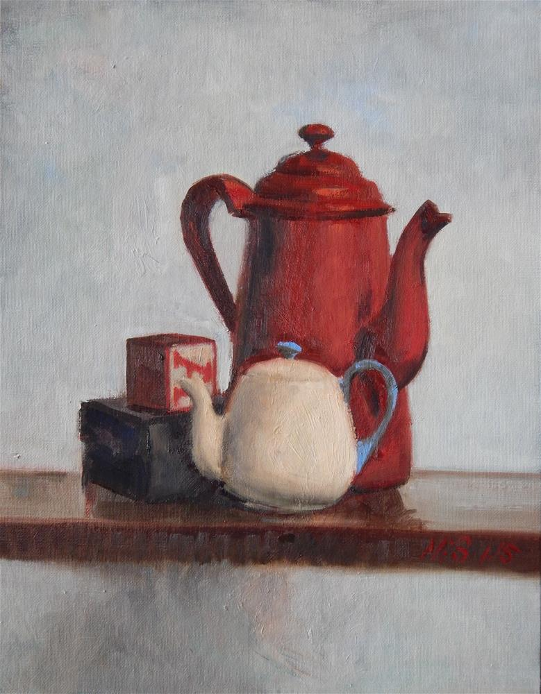 """Still Life with Red Coffee Pot"" original fine art by Megan Schembre"
