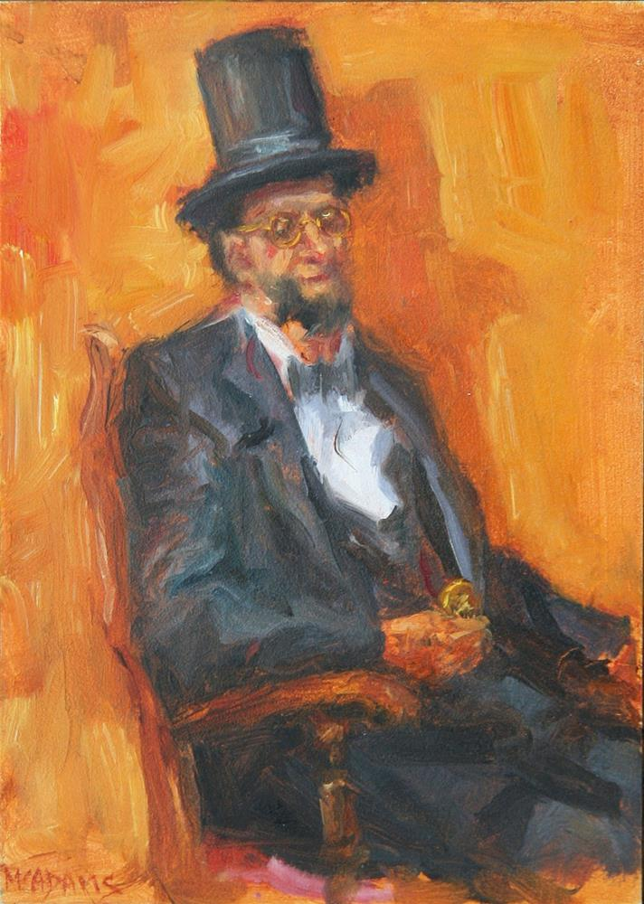 """Sitting in for Abe"" original fine art by Phyllis McAdams"