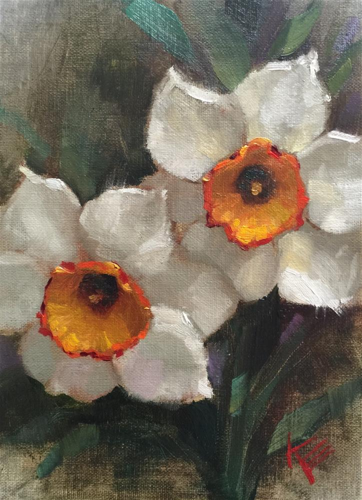 """Daffodil Study"" original fine art by Krista Eaton"