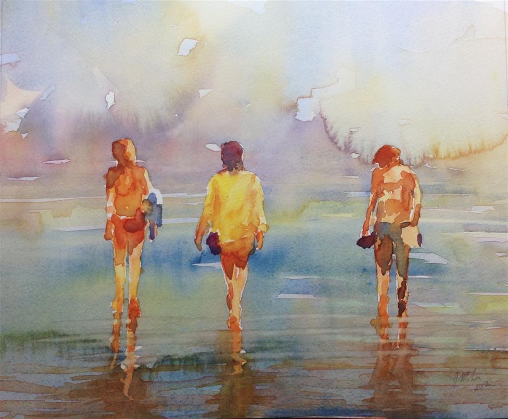 """Figures on the beach"" original fine art by Joseph Mahon"