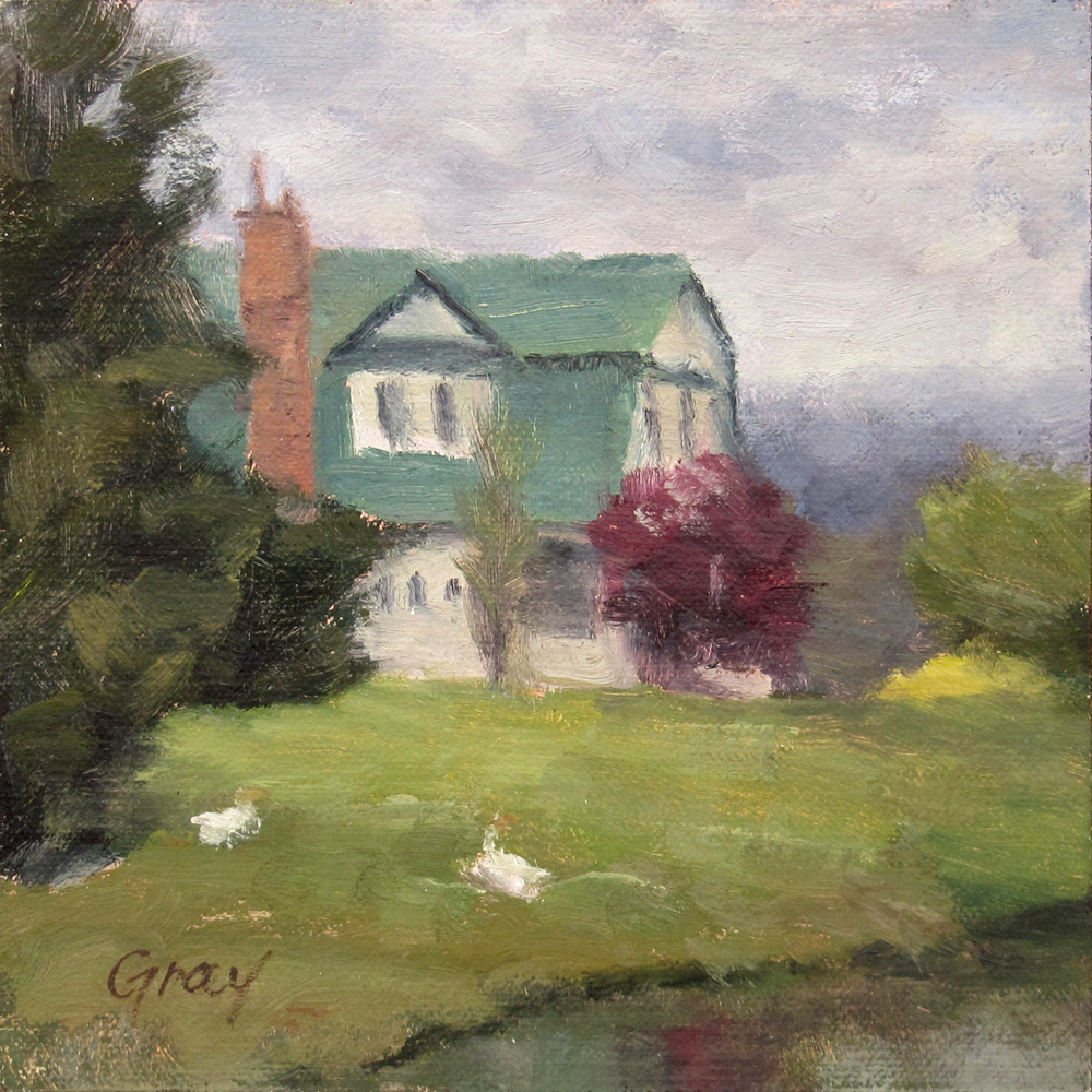 """House with Green Roof"" original fine art by Naomi Gray"