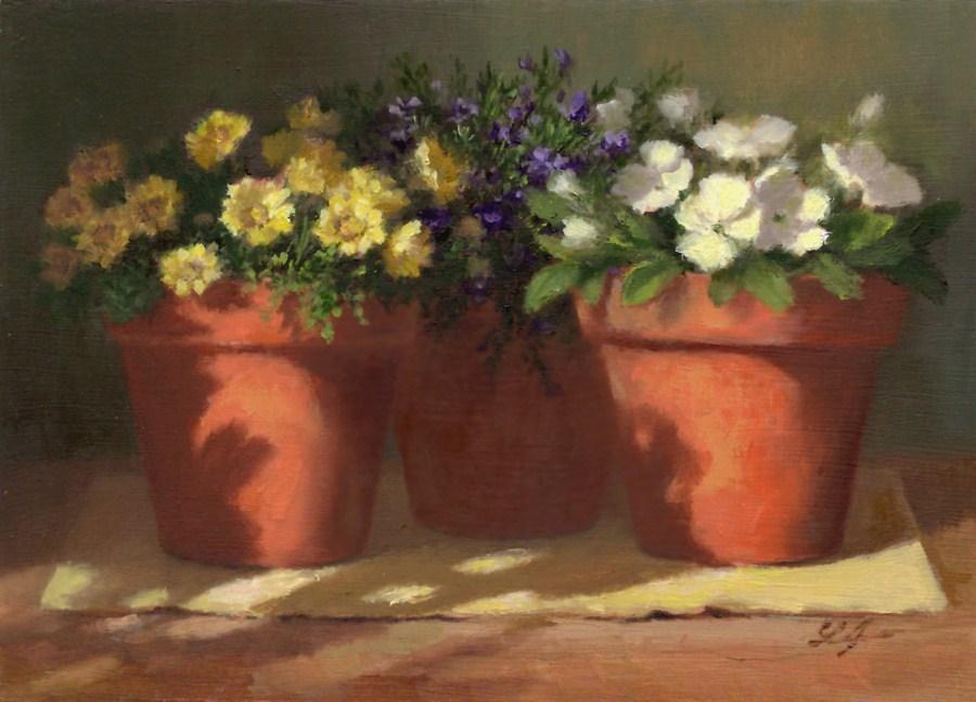 """Mixed Flowers"" original fine art by Linda Jacobus"