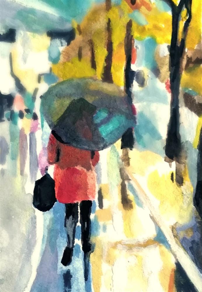 """Rainy Evening Walk"" original fine art by Dana C"