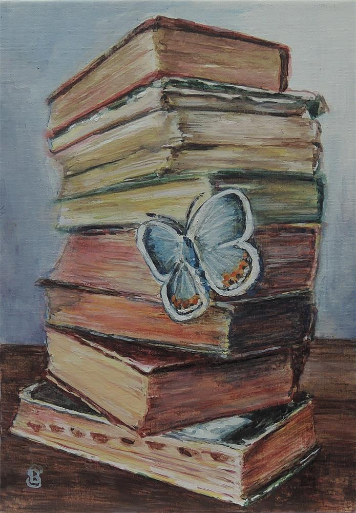 """Antique Books with Butterfly"" original fine art by Belinda Scheber"