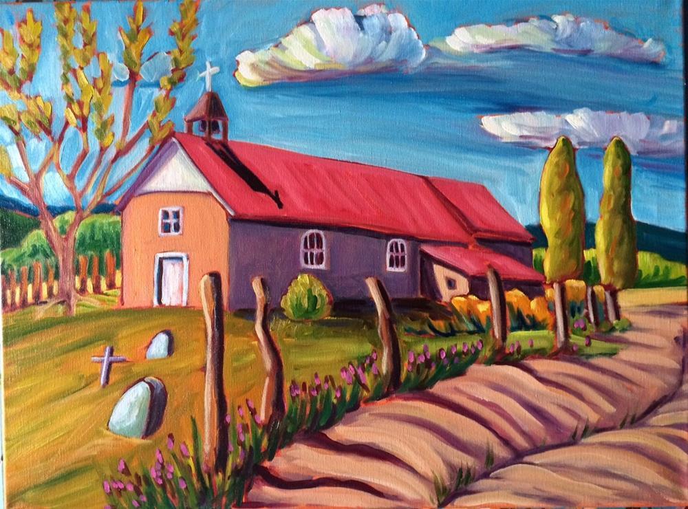 """""""Holy Trinity Church in Arroyo Seco Church"""" original fine art by Robyn Wellman"""