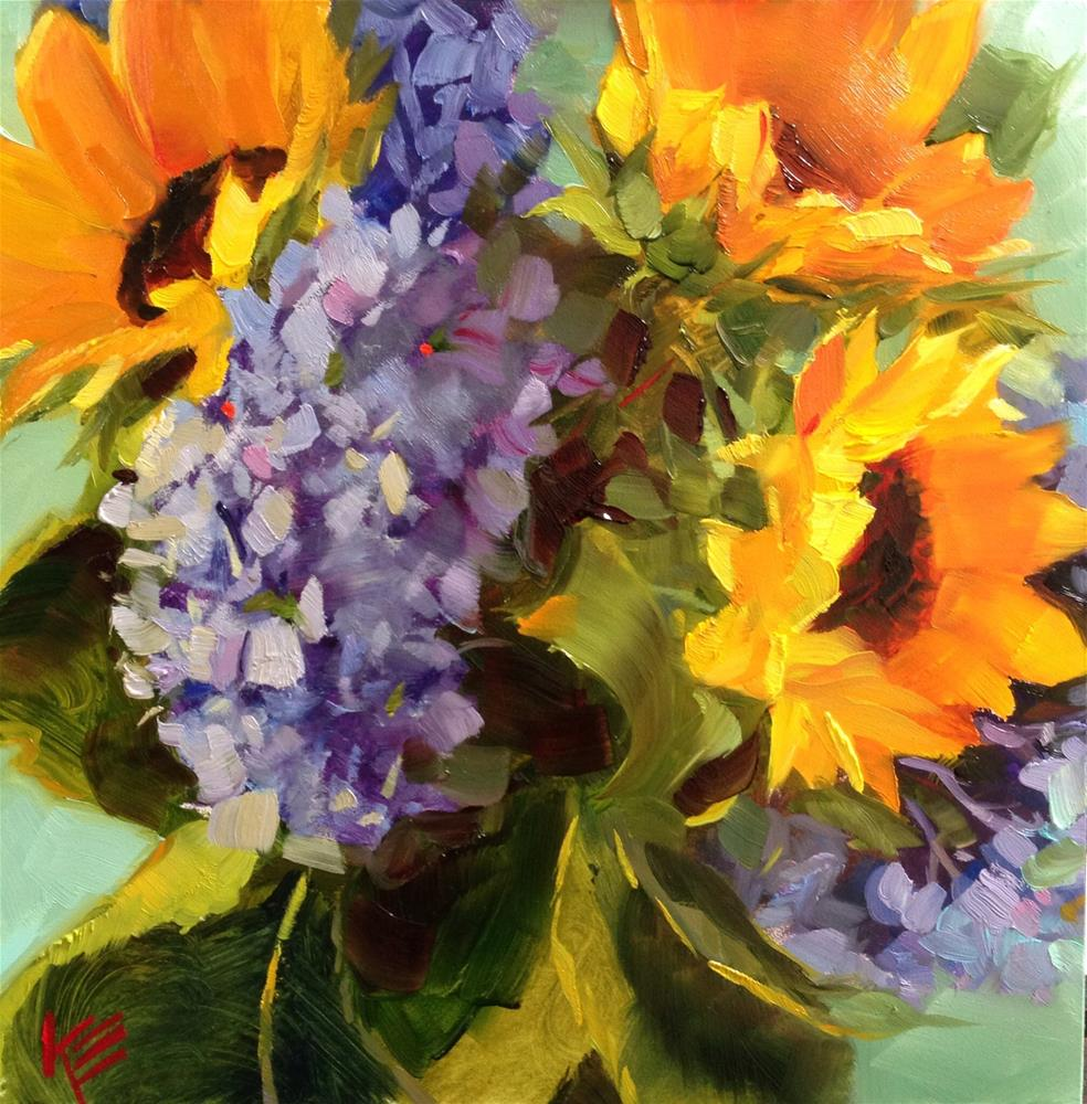 """Hydrangeas & Sunflowers"" original fine art by Krista Eaton"