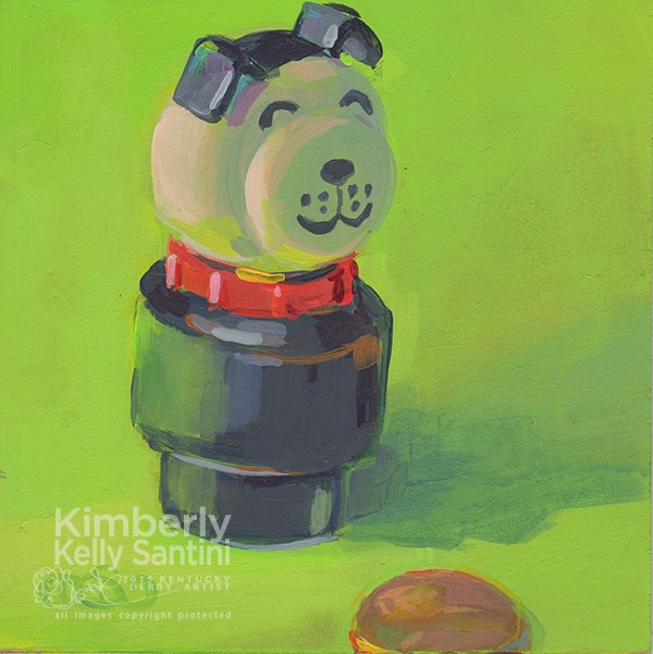 """Pup + Penny, Toy # 12"" original fine art by Kimberly Santini"
