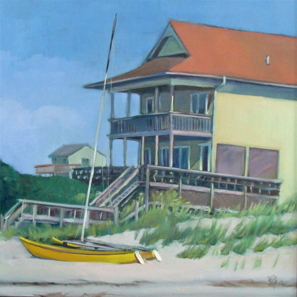 """Catamaran on Emerald Isle"" original fine art by Susan Suraci"