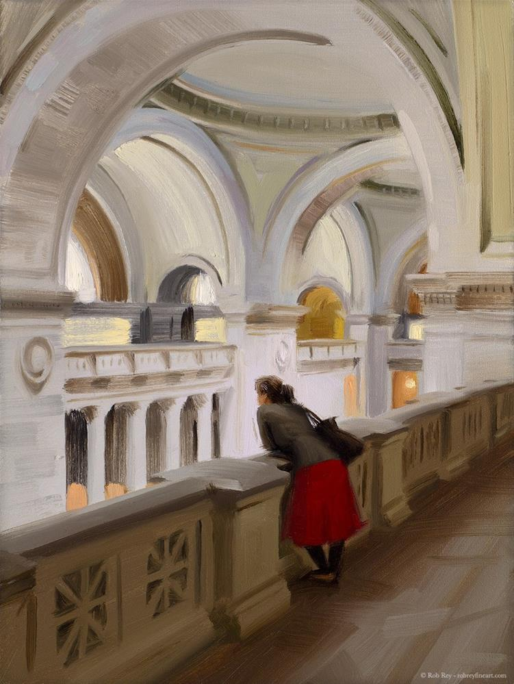 """Resting at the Met Museum"" original fine art by Rob  Rey"
