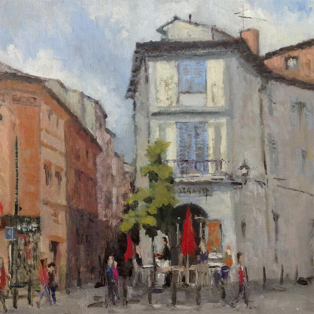 """Coffee shop in Toulouse"" original fine art by Christine Bayle"