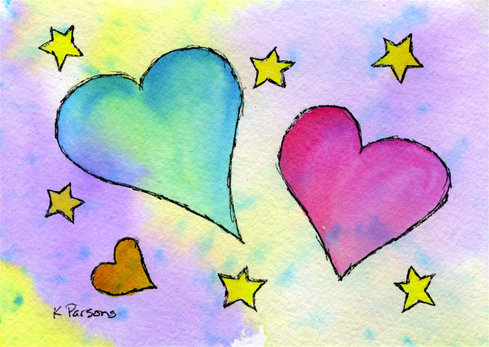 """Hearts and Stars"" original fine art by Kali Parsons"