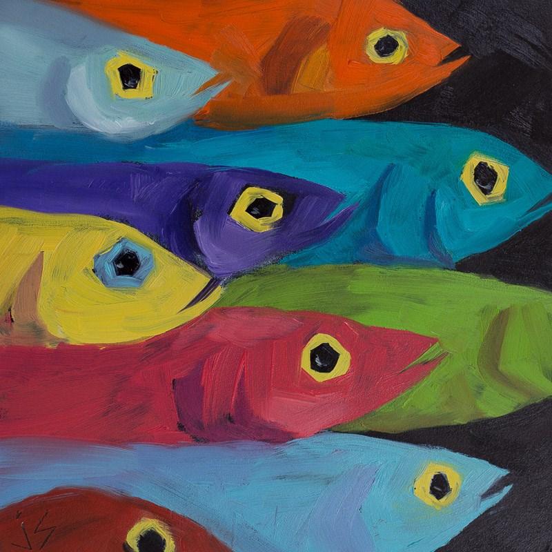 """""""Fish Fiesta"""" original fine art by Johnna Schelling"""