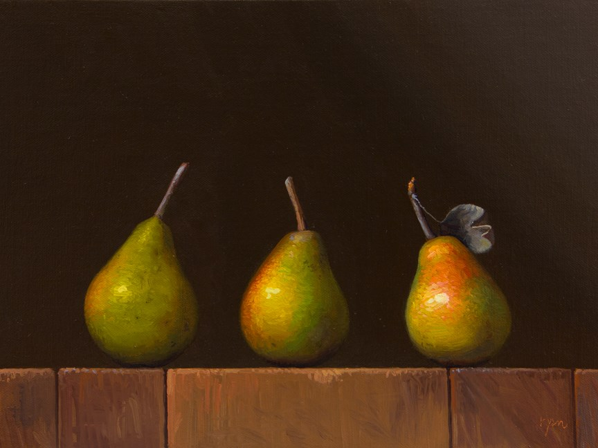 """Three Seckel Pears"" original fine art by Abbey Ryan"