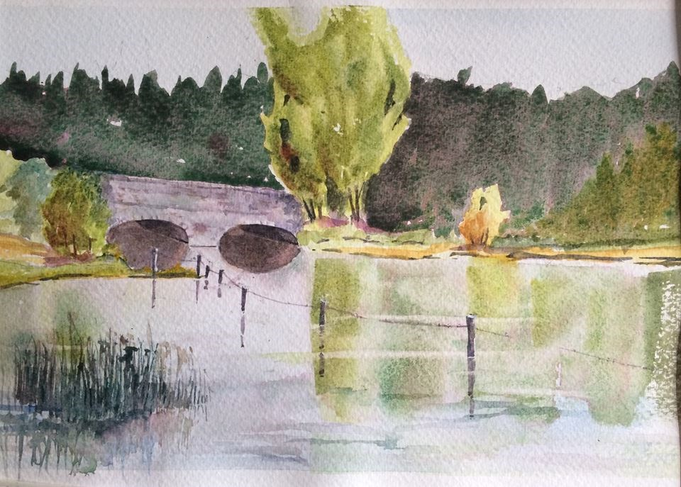 """Bridge at Dun Mill Lock, Hungerford"" original fine art by Peter Wellington"