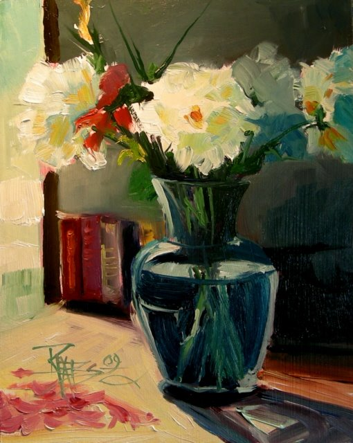 """Vase of Peonies  floral oil painting"" original fine art by Robin Weiss"