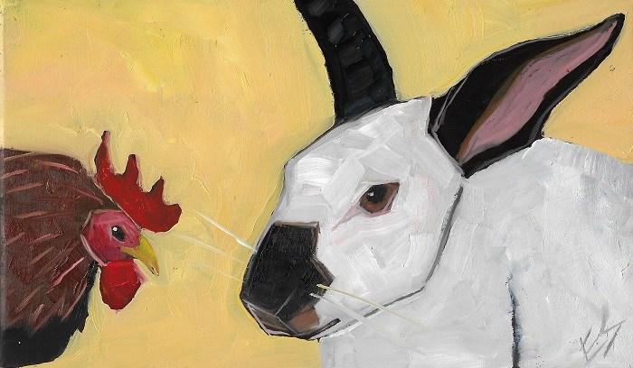 """""""Rabbit and Chicken"""" original fine art by Elizabeth See"""