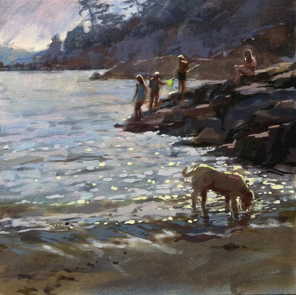 """Evening bathers, Bréhat"" original fine art by Haidee-Jo Summers ROI"