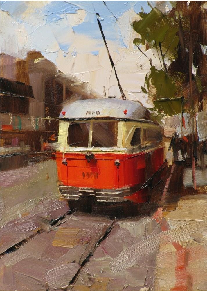 """""""Muni in San Francisco"""" original fine art by Qiang Huang"""