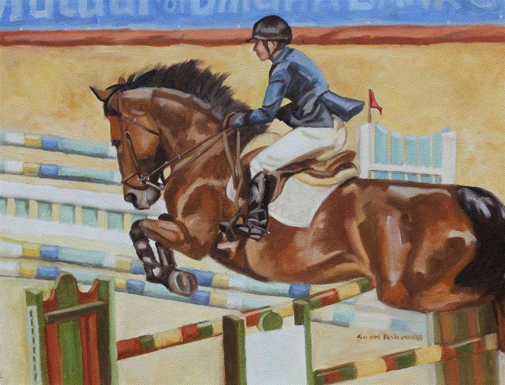 """Over the Jump         11 x 14 in"" original fine art by Susan Ashmore"