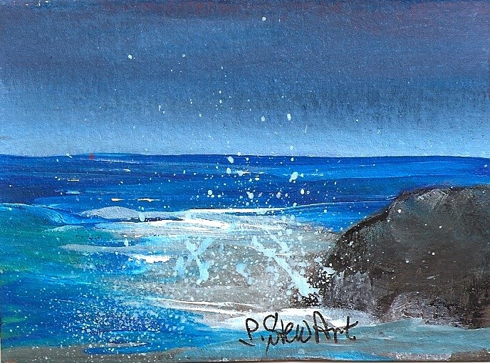 """ACEO, Rock of Ages, By the Sea Miniature Work of Art, Acrylic, OOAK"" original fine art by Penny Lee StewArt"