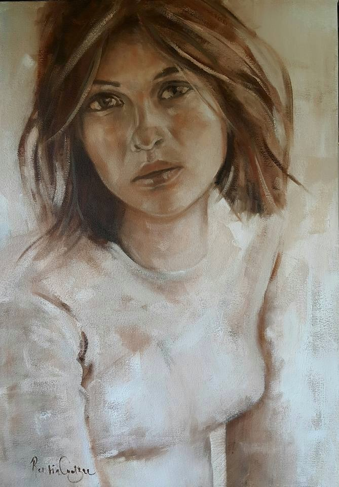 """Portrait in sepia 2"" original fine art by Rentia Coetzee"