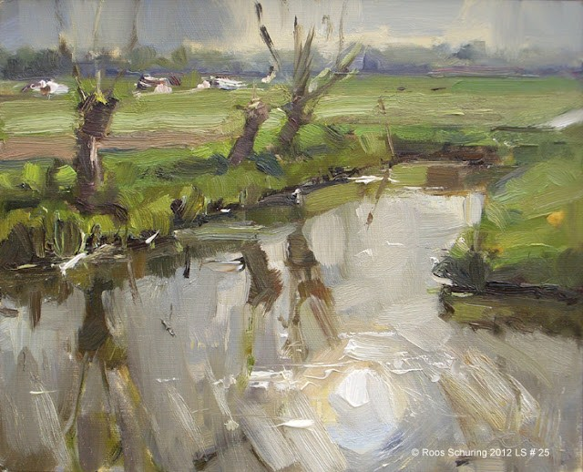 """""""Landscape spring #25 Sun reflected willows ditch cows"""" original fine art by Roos Schuring"""
