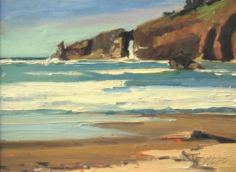 """Hole in the Wall Second Beach,  plein air, marinescape, oil painting by Robin Weiss"" original fine art by Robin Weiss"