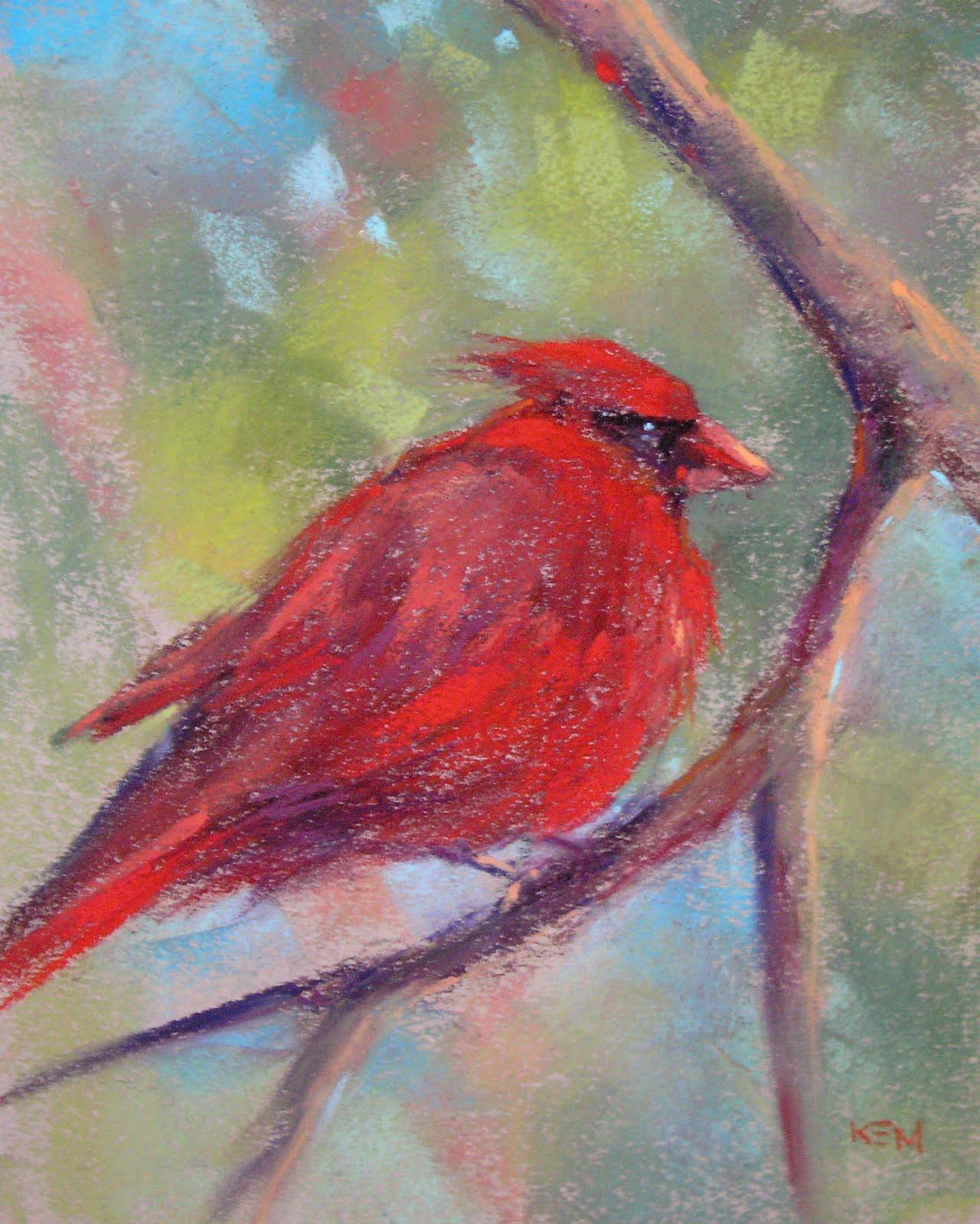 """Cardinal Pastel Study 8x10"" original fine art by Karen Margulis"