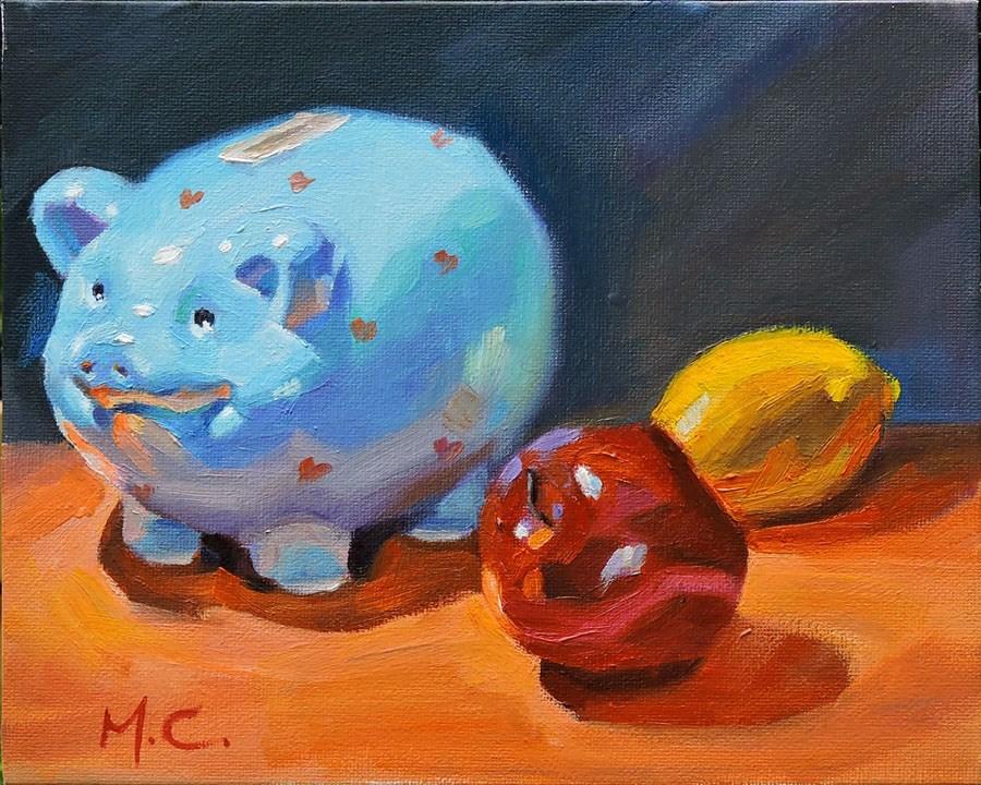 """Lovely piggy for donation"" original fine art by Michelle chen"