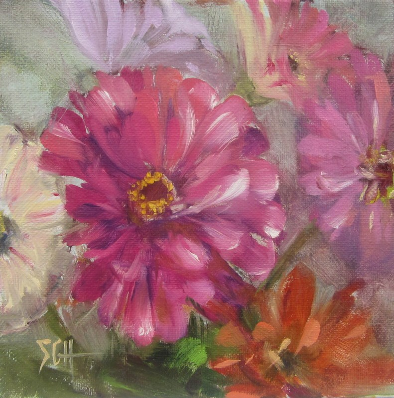 """Zinnia heaven"" original fine art by Sandy Haynes"
