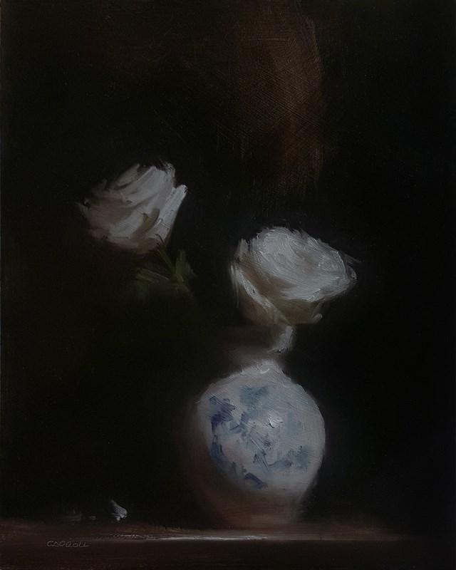 """Roses in Vase"" original fine art by Neil Carroll"