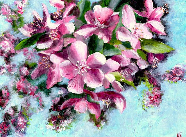 """Spring: apple blossom"" original fine art by Karen Robinson"