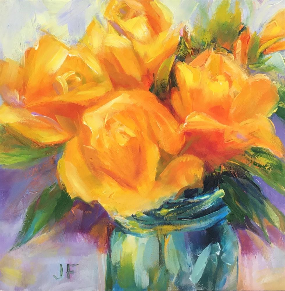 """Yellow Roses in a Ball Jar"" original fine art by Jean Fitzgerald"