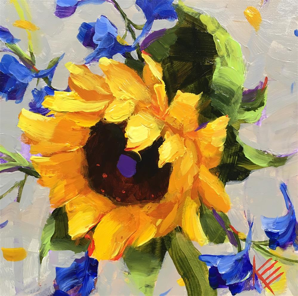 """Sunflower & Delphiniums"" original fine art by Krista Eaton"