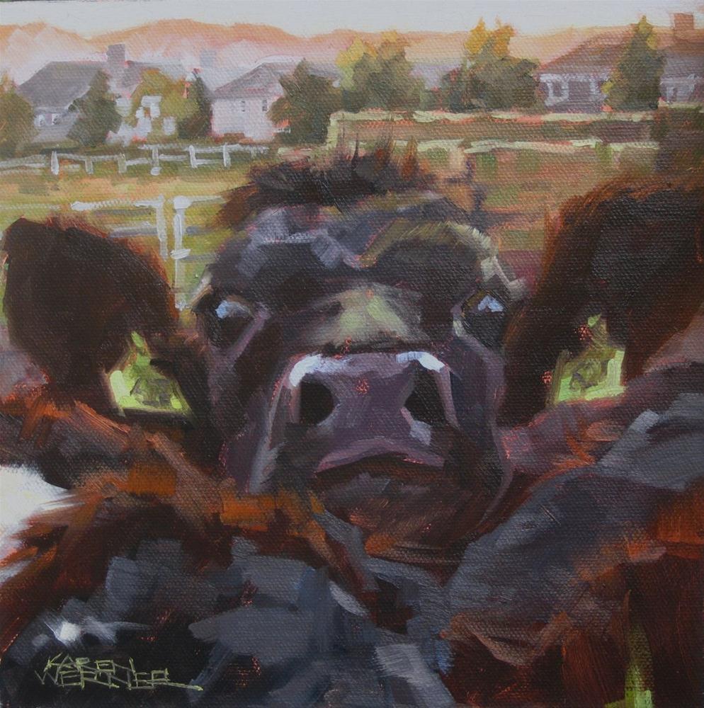 """""""Suburban Squeeze"""" original fine art by Karen Werner"""