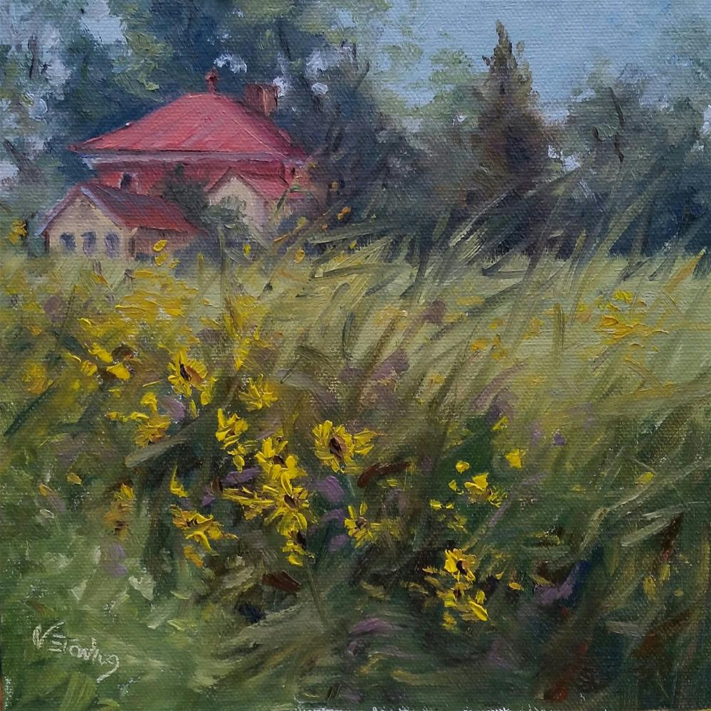 """Wildflowers at Bascom House-en plein air"" original fine art by Veronica Brown"