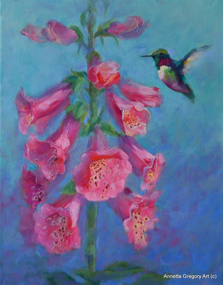 """Hummer in the Foxglove"" original fine art by Annetta Gregory"