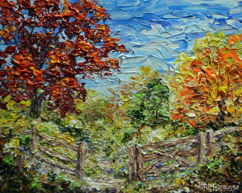"""Autumn Path In Belmont"" original fine art by Gloria Ester"