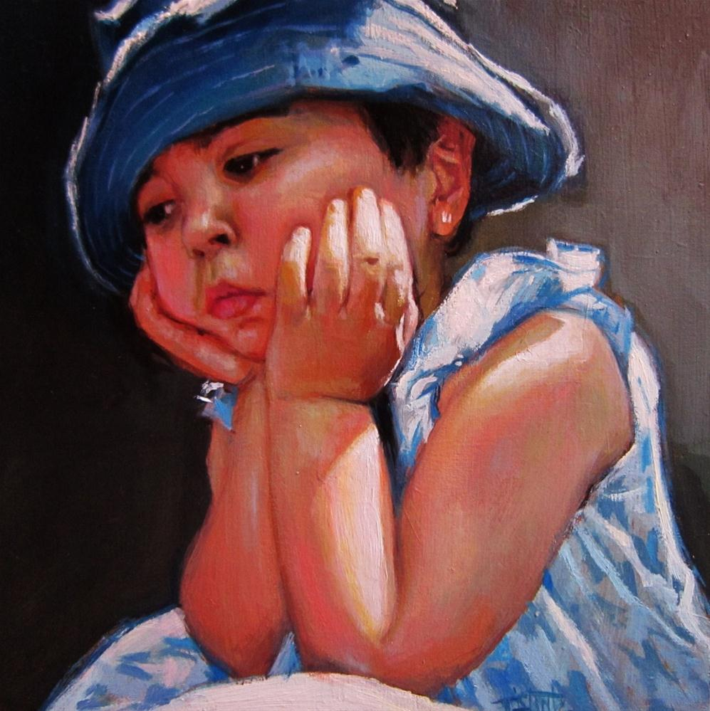 """Sad girl"" original fine art by Víctor Tristante"
