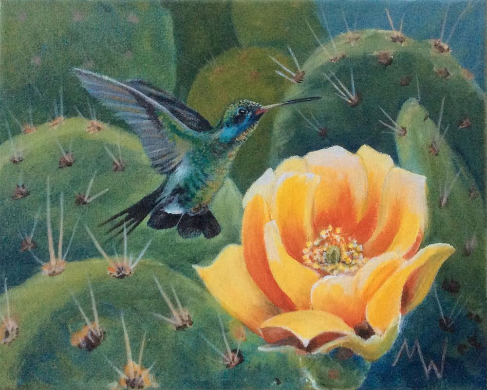 """Hummer and PricklyPear Bloom"" original fine art by Michelle Wolfe"