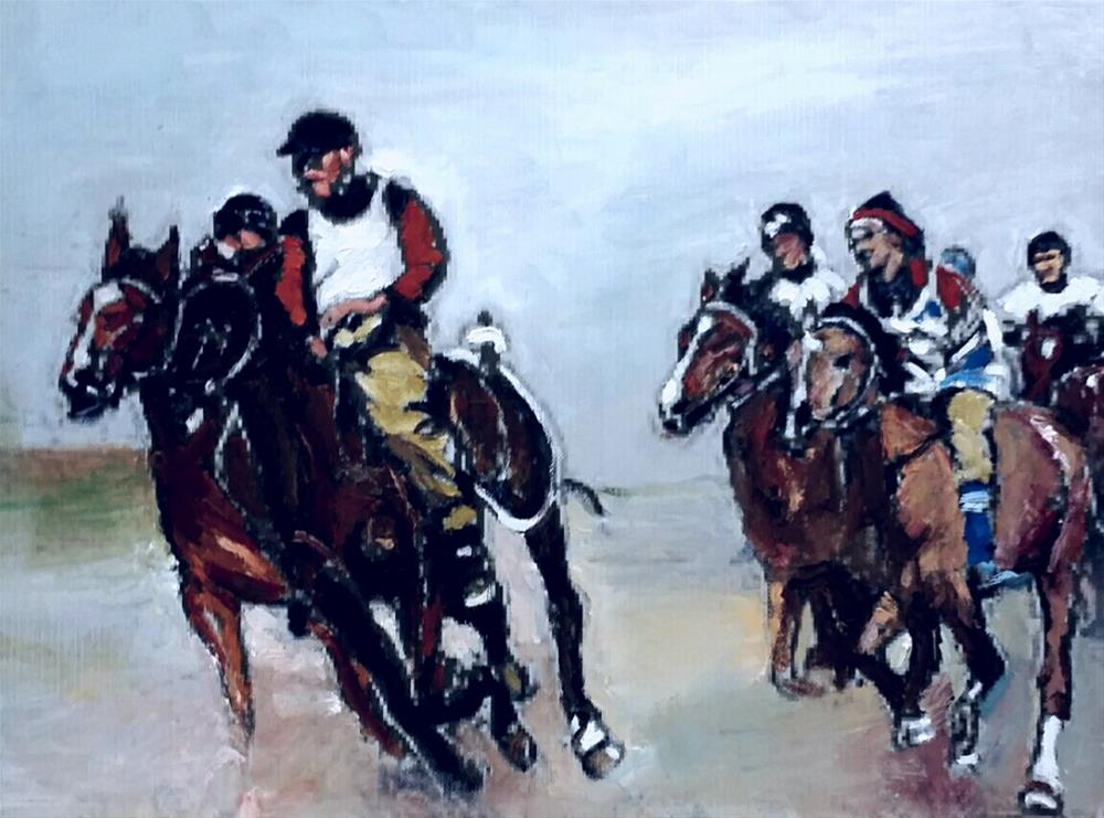 """Reay for The Race (9 x 12 oil on canvas sheet - no frame"" original fine art by Ramon DelRosario"