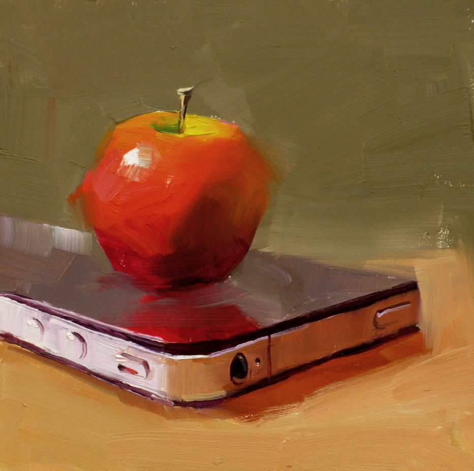 """iApple"" original fine art by Qiang Huang"