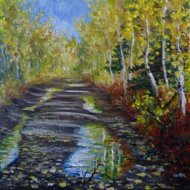 """Back Road at Fisheye Lake"" original fine art by Jackie Irvine"