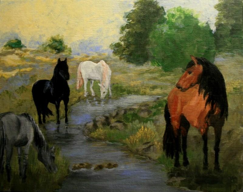 """Wild Horses"" original fine art by Jean Nelson"