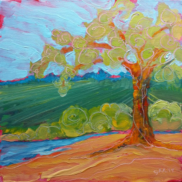 """Park Tree 17 original landscape oil painting"" original fine art by Pam Van Londen"