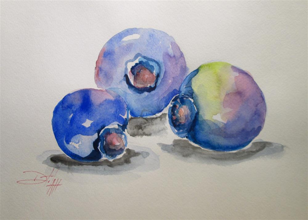 """Three Blue Berries"" original fine art by Delilah Smith"