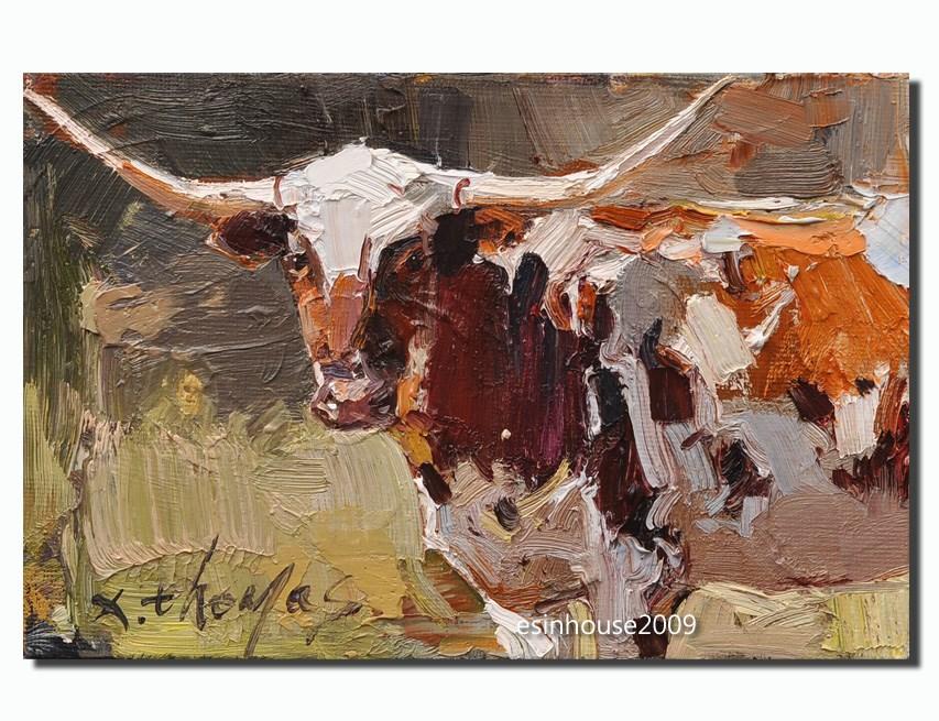 """Texas longhorn"" original fine art by Thomas Xie"