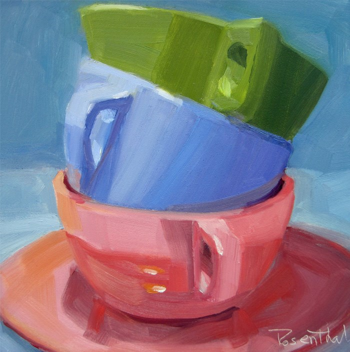 """Three Stacked Cups"" original fine art by Robin Rosenthal"